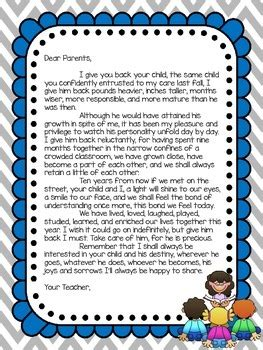 thank you letter to parents end of school year end of year letter to parents by obseussed with teaching tpt