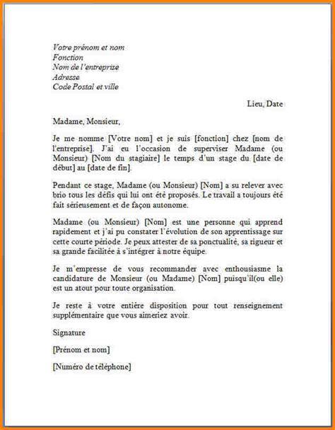 Exemple De Lettre De Recommandation Académique 9 Lettre De Recommandation Stage Modele Lettre