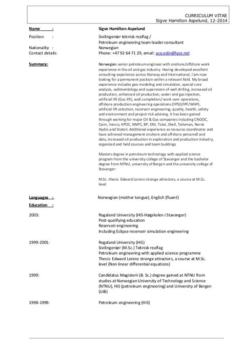 Cv Consulting Hamilton Cv Sigve Hamilton Aspelund 122014 Petroleum Engineering