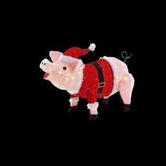 pink christmas pig outdoor decoration 36 quot tinsel cow lighted acrylic yard decoration santa hat ornament new