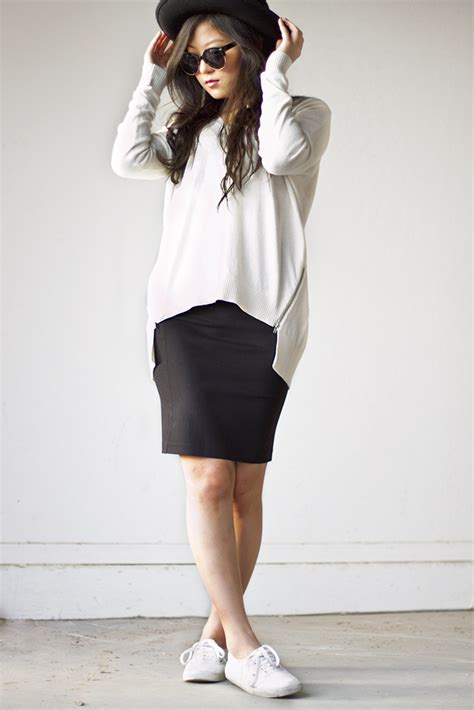 oversized sweater and pencil skirt lucky orchid