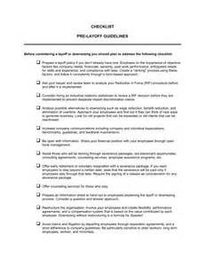 Telework Agreement Template by Checklist Pre Layoff Template Sle Form Biztree