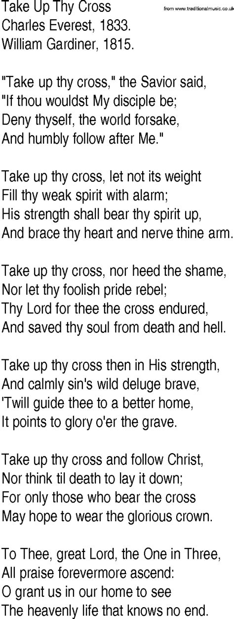 Hymn and Gospel Song Lyrics for Take Up Thy Cross by