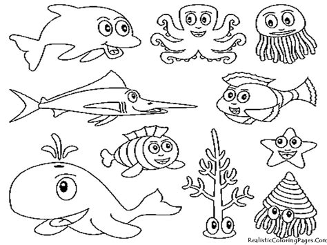 coloring page ocean animals ocean animals coloring pages realistic coloring pages