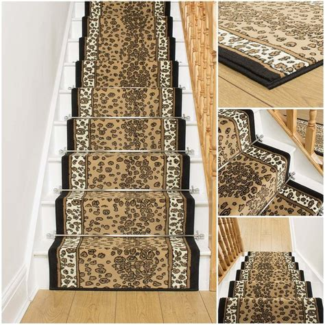 leopard stair carpet runner for narrow staircase animal