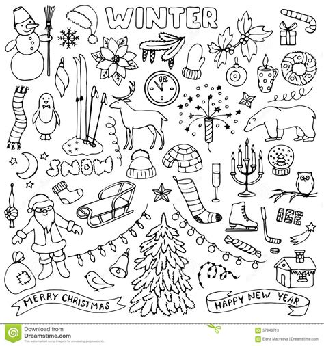 doodlebug winter vector illustration set vector