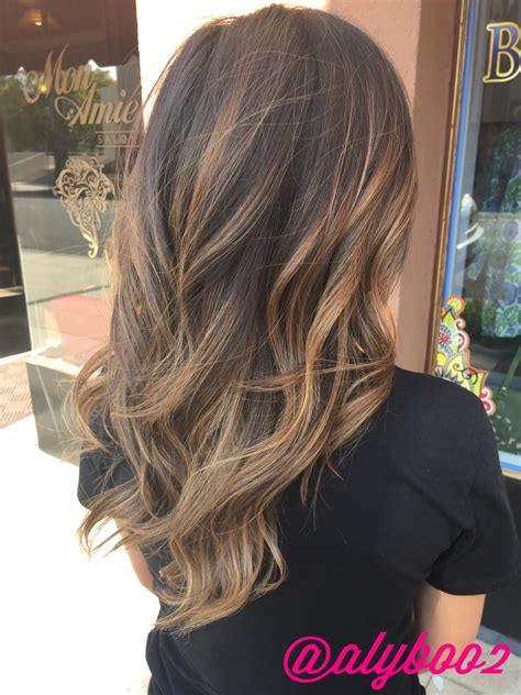 hair light on top and dark on the bottom light brown balayage hair by aly tompkins mon amie salon