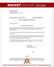 Executor Of Estate Letter Template Letter Of Appointment Of Executor Template With Sample
