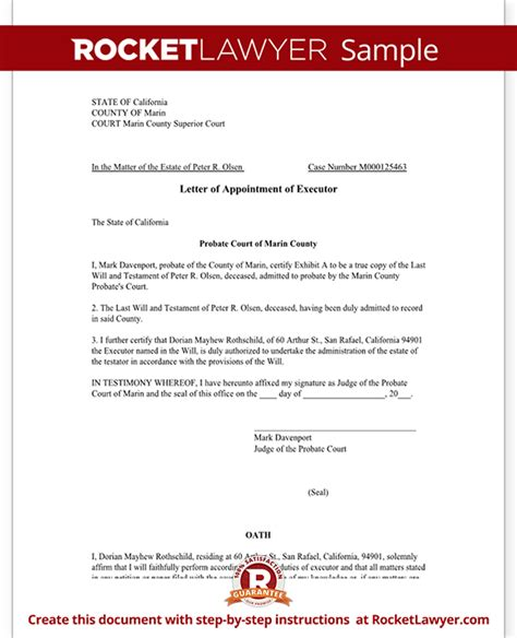 Appointment Letter Document Letter Of Appointment Of Executor Template With Sle