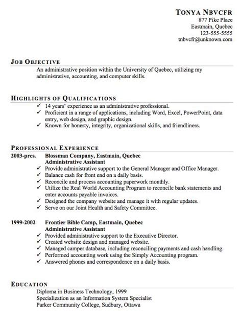 Sample Resume Format Administrative Assistant by 10 Best Images About Resume On Pinterest Professional