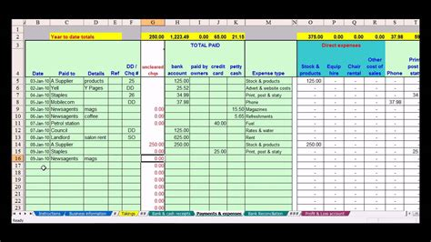 bookkeeping layout hairdresser bookkeeping spreadsheet youtube