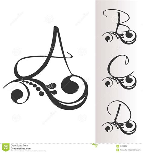 Letter A B C set capital letter for monograms and logos vector