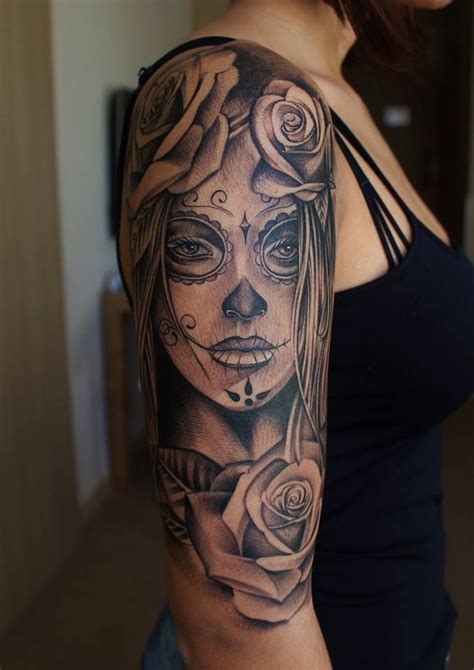 tattoo no name praha roses sugarskull dayofthedead tattys pinterest
