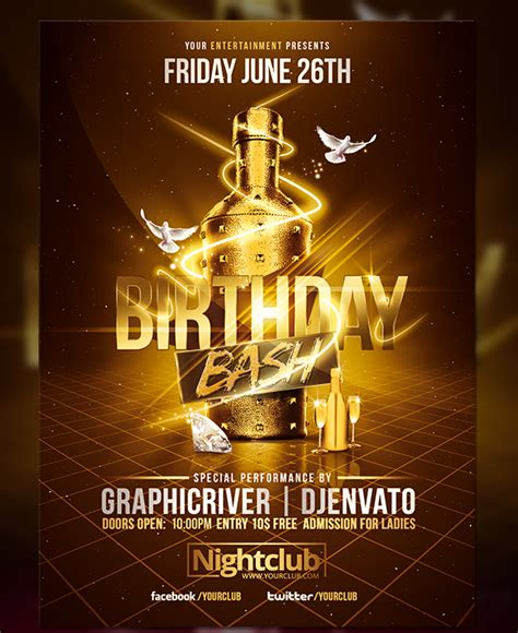 Gold Birthday Bash Flyer Template On Behance Bash Flyer Template