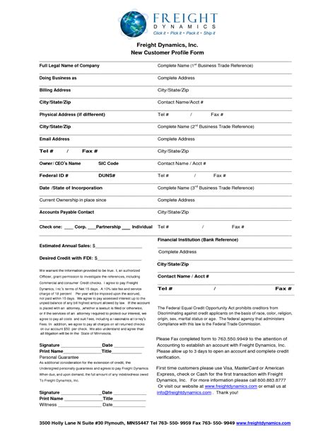 customer profile form template best photos of customer profile template new customer