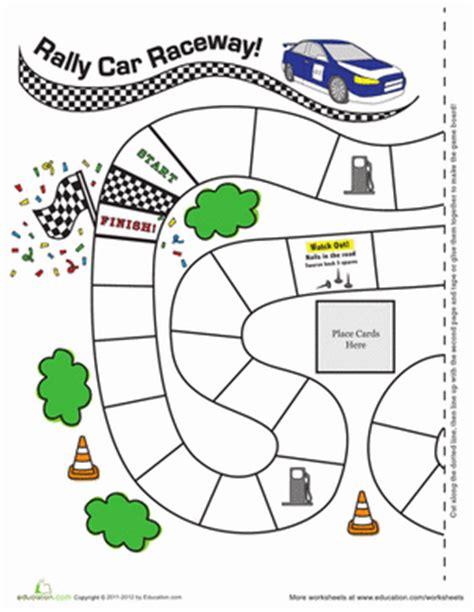 printable adventure board games rally car raceway worksheet education com