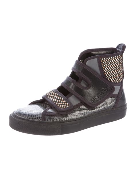 raf simons velcro high top sneakers shoes raf20296 the realreal