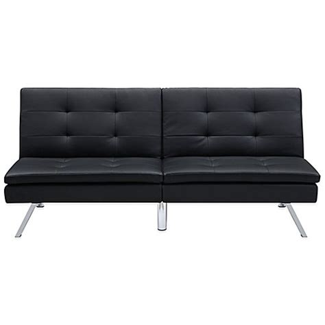 leather futon chelsea convertible faux leather futon in black www