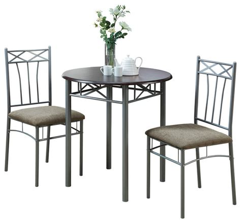 Indoor Bistro Table Set Monarch Specialties Cappuccino Silver Metal 3 Pieces Bistro Set Transitional Indoor Pub And
