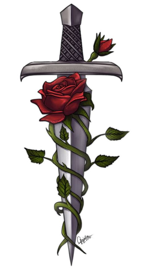 rose and sword tattoo sword and roses by magic deviantart on deviantart