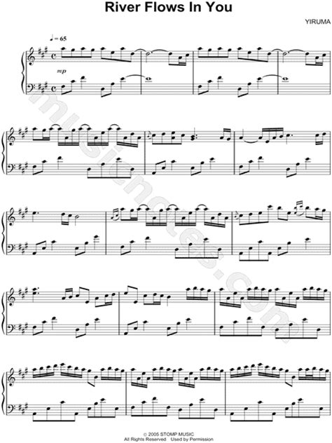 testo the river yiruma quot river flows in you quot sheet piano in a