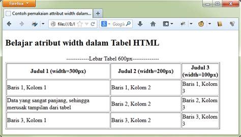 membuat kolom tabel html contoh tabel html tabel dengan atribut width pada kolom