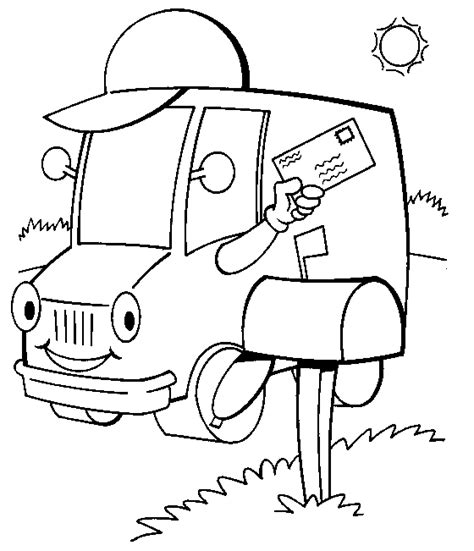 preschool coloring pages trucks mail truck preschool coloring page sketch coloring page