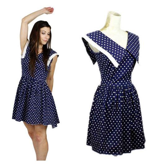 Polkadote Style Blue Orange Mini Dress navy blue polka dot minnie mouse dress 90s sleeveless mod mini dress 1960s style dress