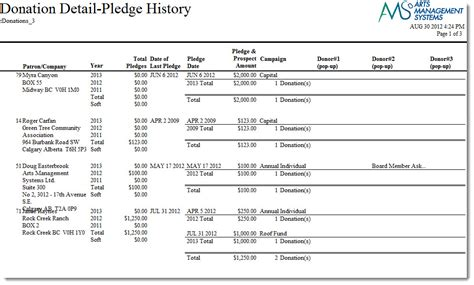 donor detail pledge history with custom fields fiscal