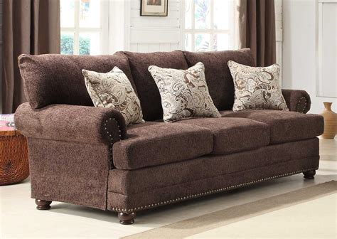 elena sofa homelegance elena sofa chocolate chenille 9729 3 at
