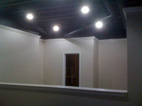 painting basement ceiling black details carpentry and