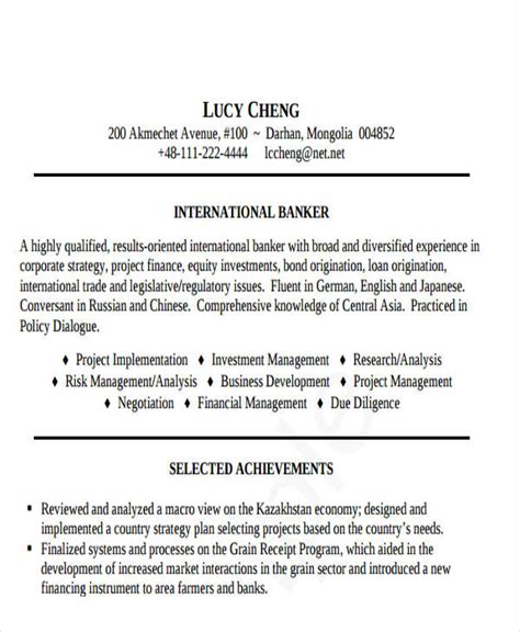 Resume Templates Banking Professional by 21 Banking Resume Templates Pdf Doc Free Premium
