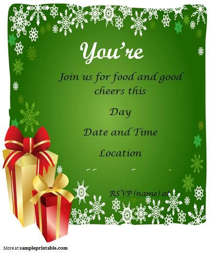 7 best images of christmas party free printable template