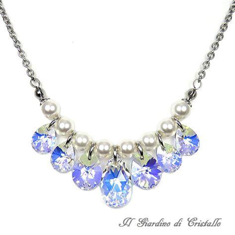 gocce di cristallo per ladari vendita collana in acciaio perle bianche gocce cristallo swarovski