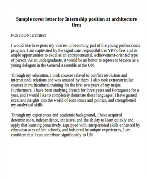 Cover Letter Exles For Architecture by Application Letter For Internship In Architecture 28