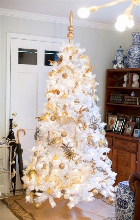 white christmas tree with gold decorations designcorner