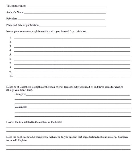 fifth grade book report format book report template 1st to 5th grade