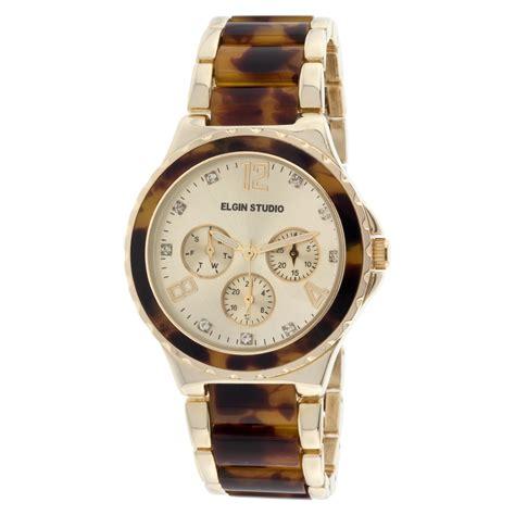elgin gold tone tortoise shell link bracelet