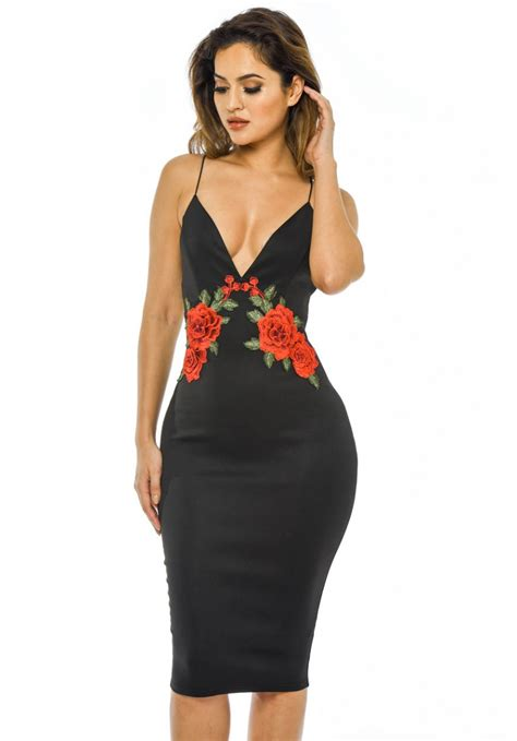 Bodycon Dress strappy embroidered midi bodycon dress