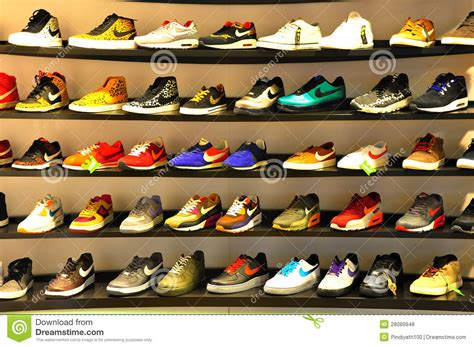 sport shoes store nike sports shoes editorial stock photo image 28089948