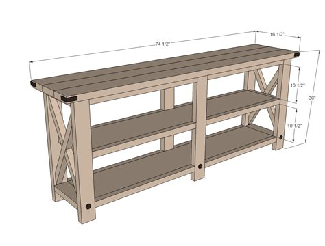 sofa table plans free white rustic x console diy projects
