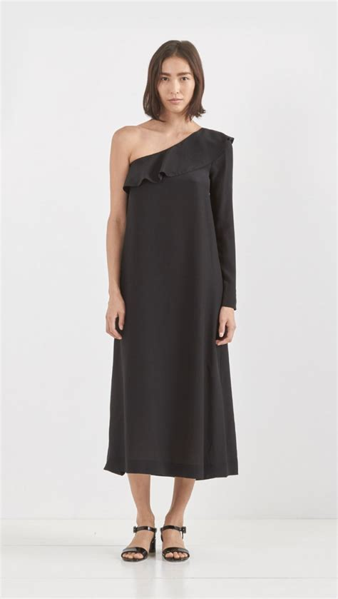 One Shoulder Maxi Tosca lyst roche silk shoulder dress in black