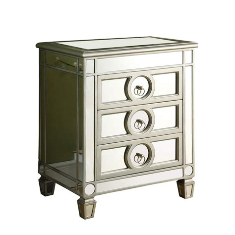 accent table with 3 drawers monarch specialties accent table brushed silver mirror