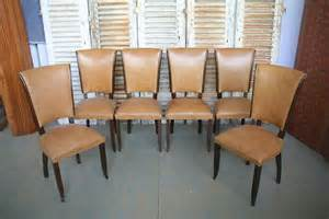 set of 6 1940 s dining chairs in beige leather at