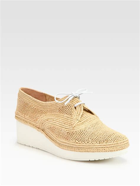 crochet oxford shoes robert clergerie vicole crochet raffia laceup wedge