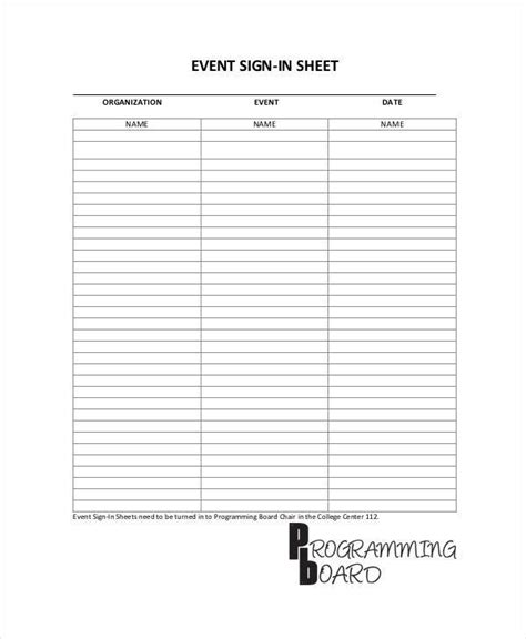 11 Sign In Sheet Sles Templates Sle Templates Event Signage Template
