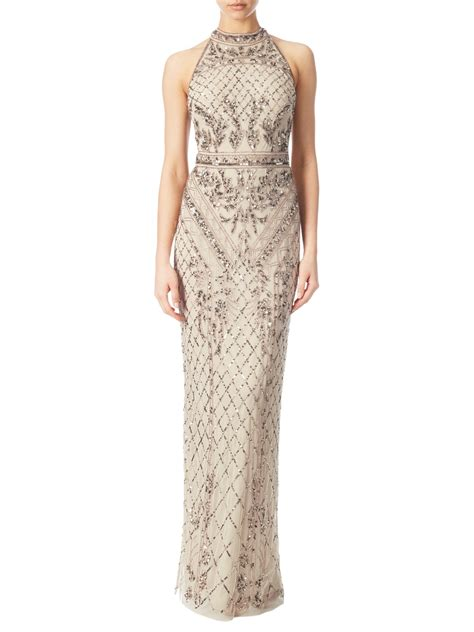 beaded gown papell halterneck beaded gown biscotti halterneck