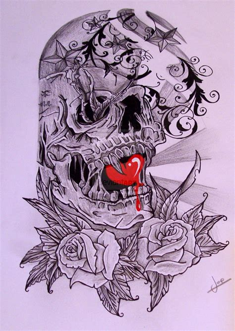 half skull half rose tattoo half sleeve skull by josephblacktattoos on deviantart