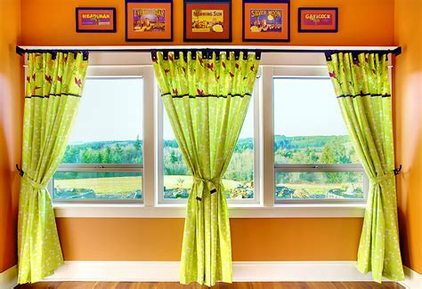 three panel window curtain tab top panel curtains with button accents sew4home