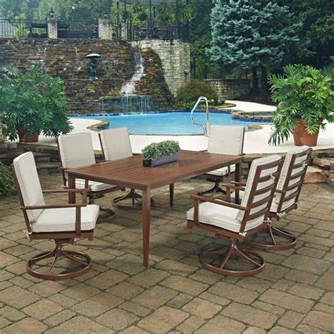Outdoor Table Ls Key West 7 Pc Rectangular Outdoor Dining Table 6 Swivel Rocking Chairs Homestyles